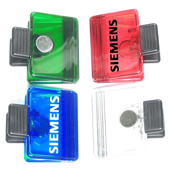 Jumbo size rectangular magnetic memo clip holder