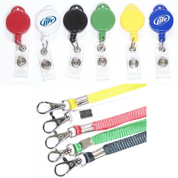 Round retractable badge holder with lanyard