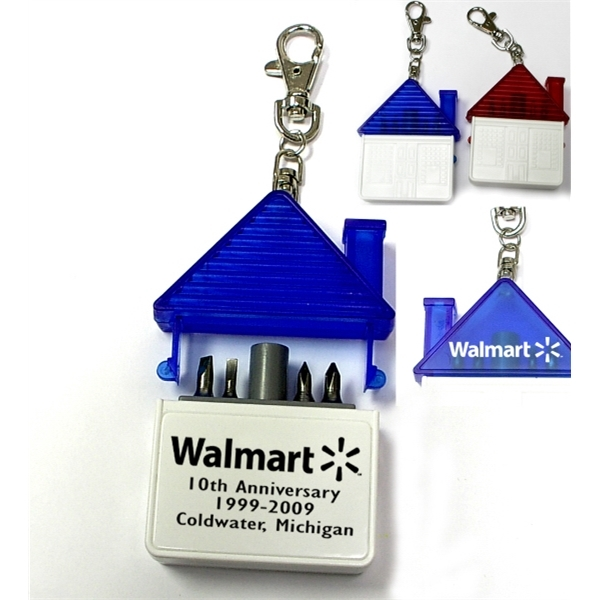 House shaped tool kit with 4 steel bits keychain