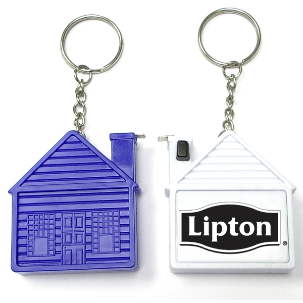 House shape tape measure key chain