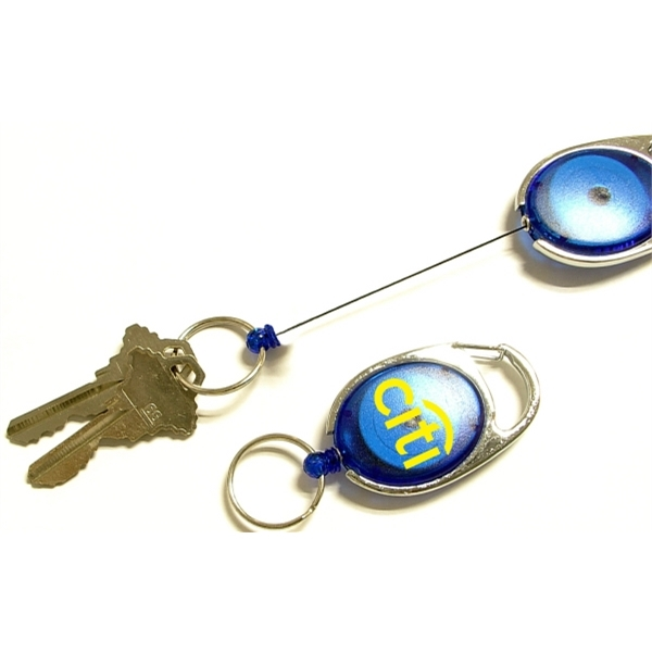 Oval Shape Retractable Key Holder with Carabiner Clip
