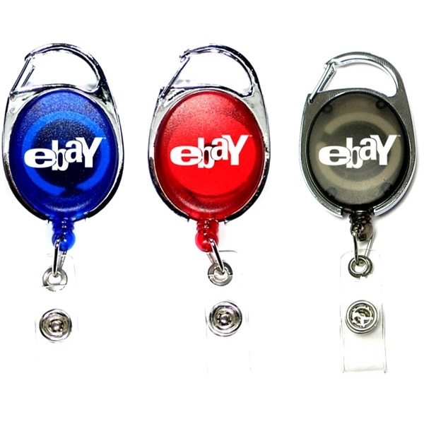 Oval shape retractable badge holder with carabiner clip