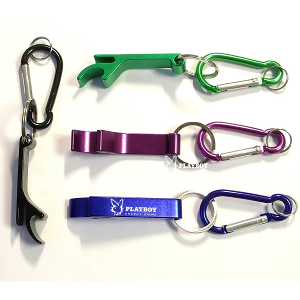 Deluxe can and bottle opener key chain and carabiner