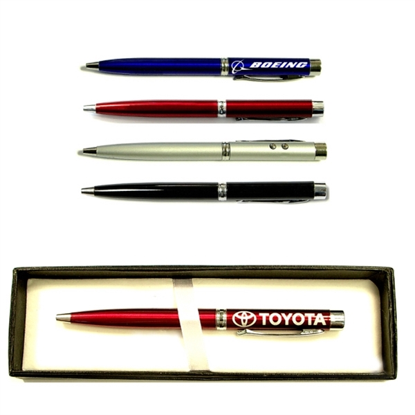 Twist action pen with laser pointer and flashlight