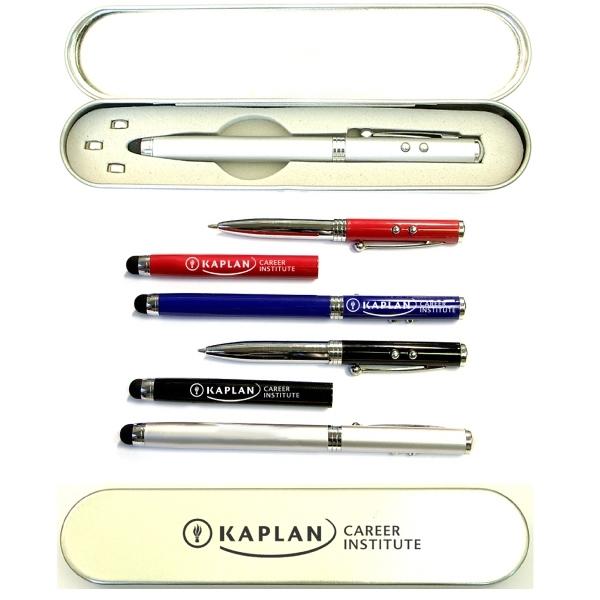 Metal Pen with Laser Pointer, LED Light & Stylus