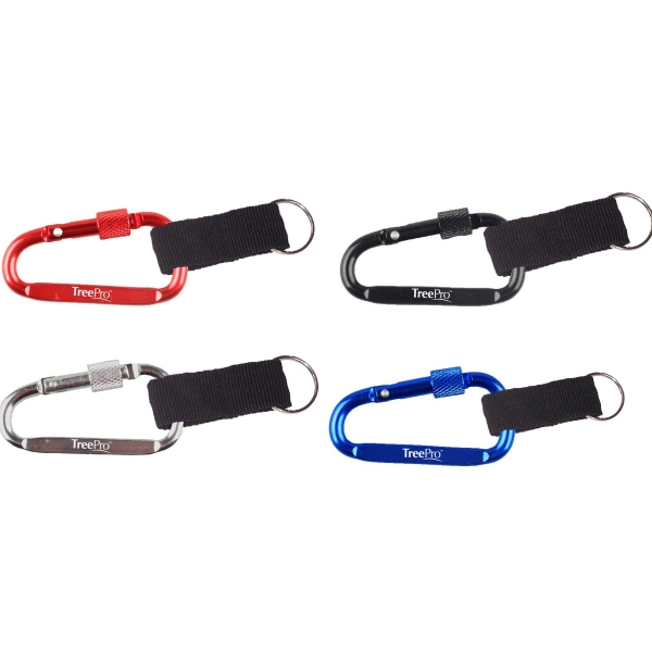 Carabiner with Secured Screw and Strap