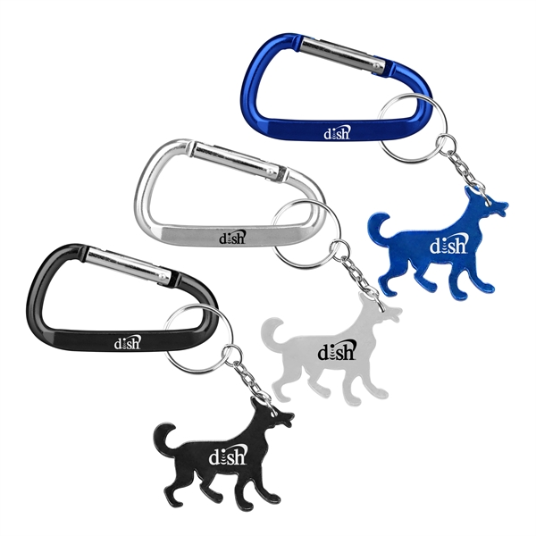 Dog Shape Bottle Opener Key Chain with Carabiner