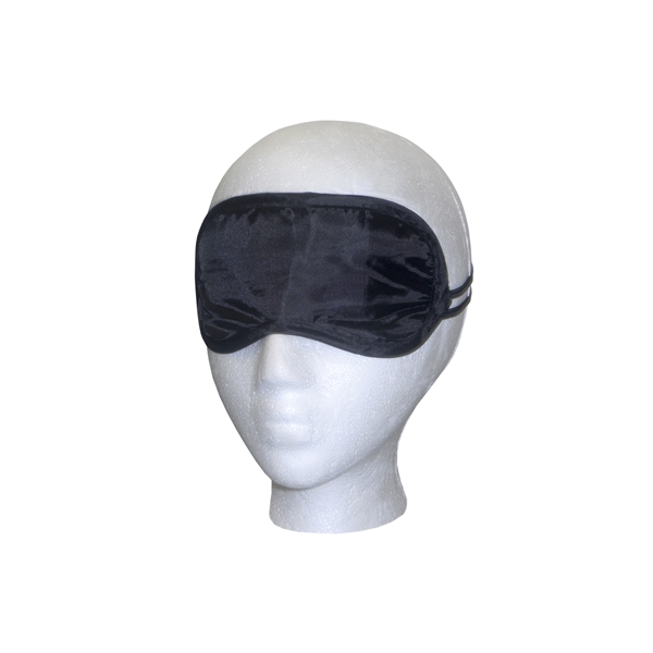 """Black Satin Sleep Mask - 7"""" x 3"""" black satin sleep mask with imprint area, and imprint or label options on storage bag"""