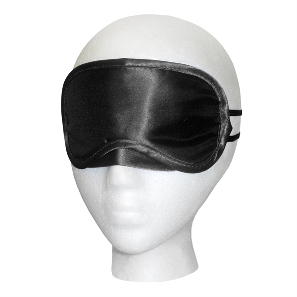 "Black Satin Sleep Mask - 7"" x 3"" black satin sleep mask with imprint area, and imprint or label options on storage bag"