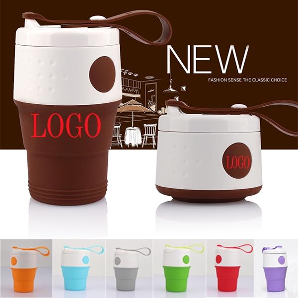 Portable Silicone Folding Coffee Water Bottles-14oz