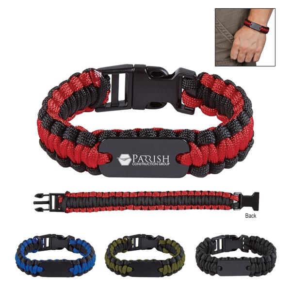 Paracord Survival Bracelet With Metal Plate