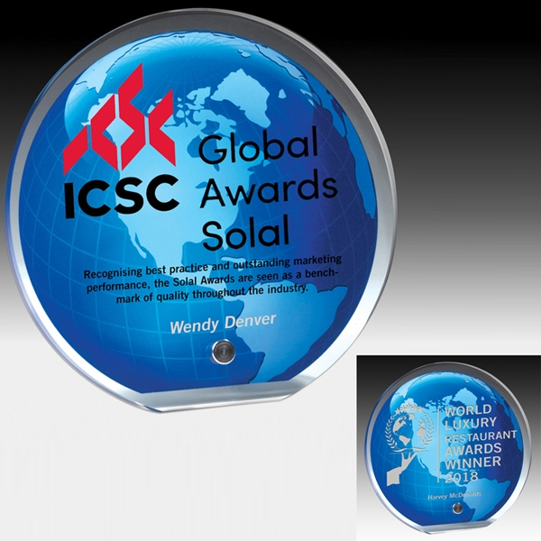 Global Award with Stock Globe Background