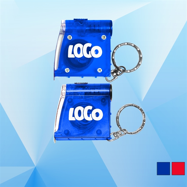 Tape Measure with Flashlight Key Holder