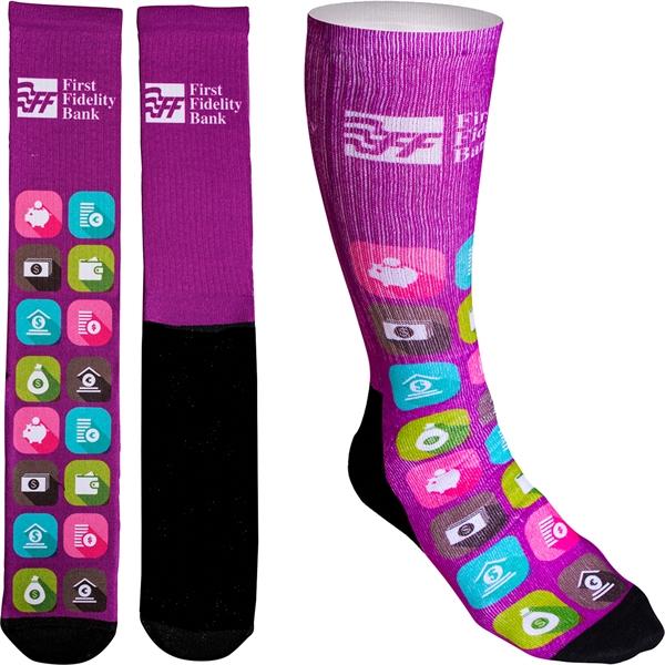 Women's Full Color Crew Promo Socks with Black Bottom