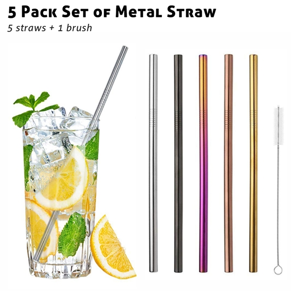 5 Pack Metal Straws Set with Brush