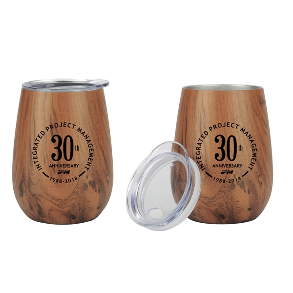 10 oz. Stainless Steel Lined Vacuum Wood Toned Wine Tumbler
