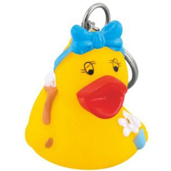 Rubber Bath Tub Duck Key Chain