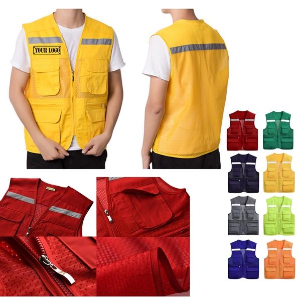 Men's Work Utility Vest w/ Reflective Stripes