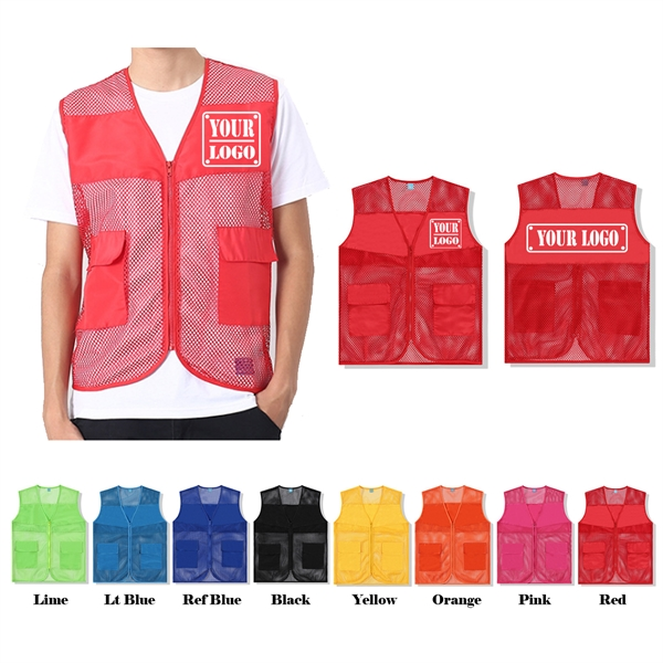 Personalized Breathable Mesh Vest with Multi-Pockets for Men