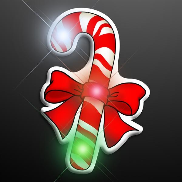 LED Candy Cane Christmas Pin