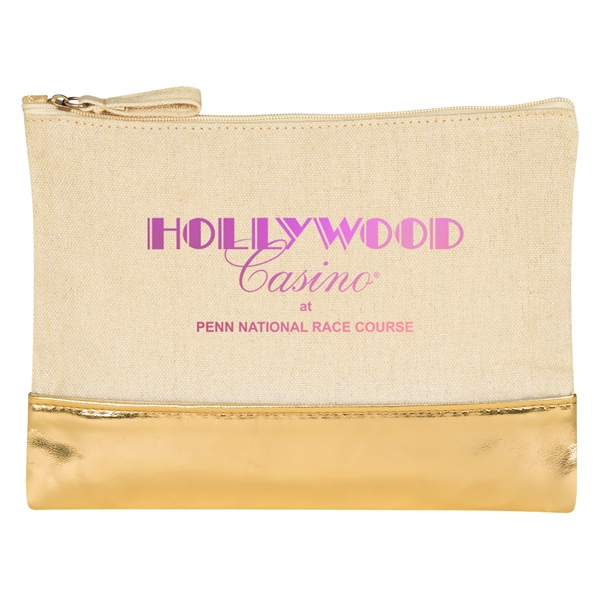 12 Oz. Cotton Cosmetic Bag With Metallic Accent