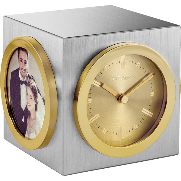 Citizen Workplace Silver & Gold Cube w/Clock & Pic. Frames