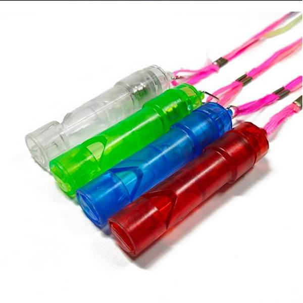 Clear LED Whistle Lanyards with Flashing Multi-Color Lights