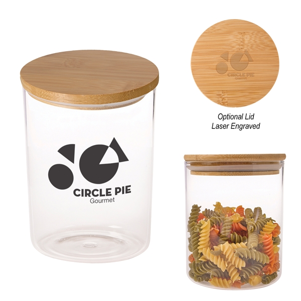 26 Oz. Glass Container With Bamboo Lid