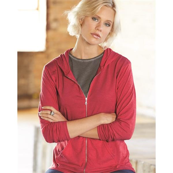 Anvil Women's Triblend Full-Zip Hooded Long Sleeve T-Shirt