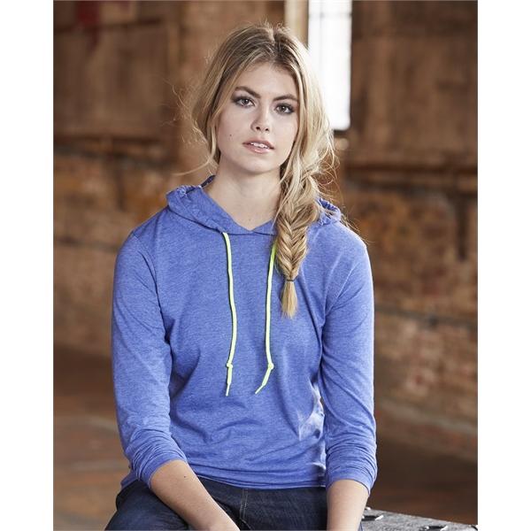 Anvil Women's Lightweight Hooded Long Sleeve T-Shirt