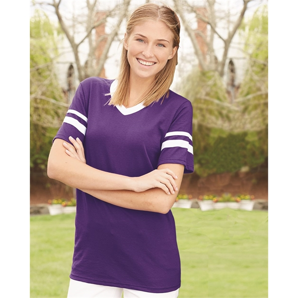 Augusta Sportswear V-Neck Jersey with Striped Sleeves
