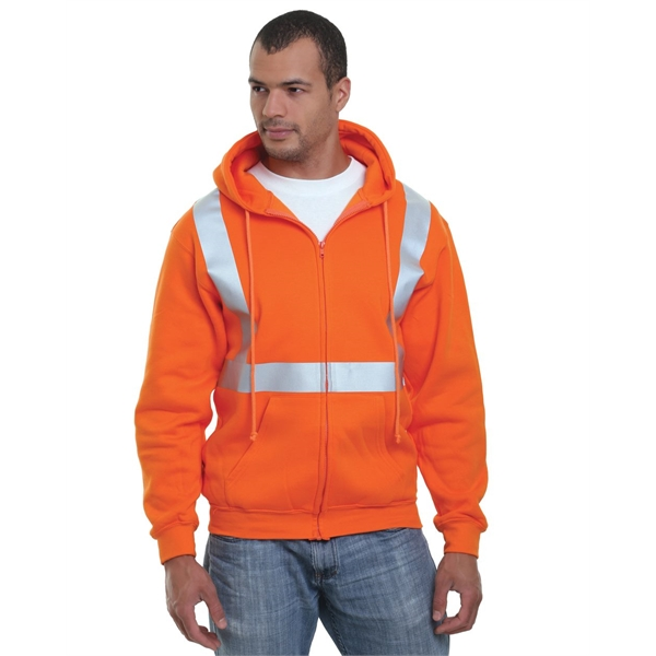 Bayside USA-Made Hi-Visibility Full-Zip Hooded Fleece