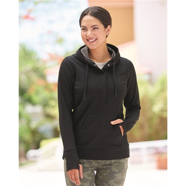 J. America Women's Omega Stretch Snap-Placket Hooded Pull...