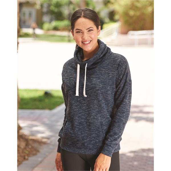 J. America Women's Melange Fleece Cowl Neck Sweatshirt