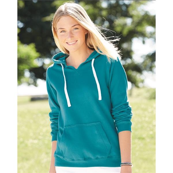 J. America Women's Sueded V-Neck Hooded Sweatshirt