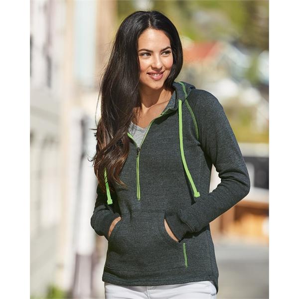 J. America Women's Half-Zip Triblend Hooded Pullover Swea...