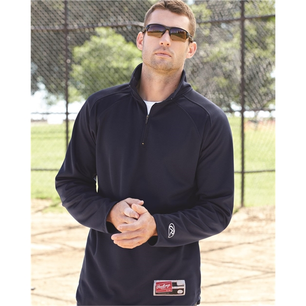 Rawlings Quarter-Zip Flatback Mesh Fleece Pullover