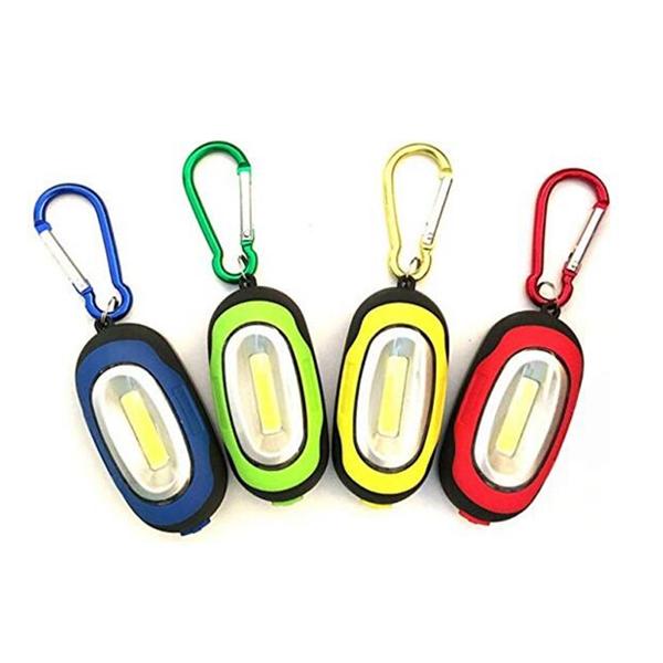 COB LED Keychain Flashlight With Carabiner