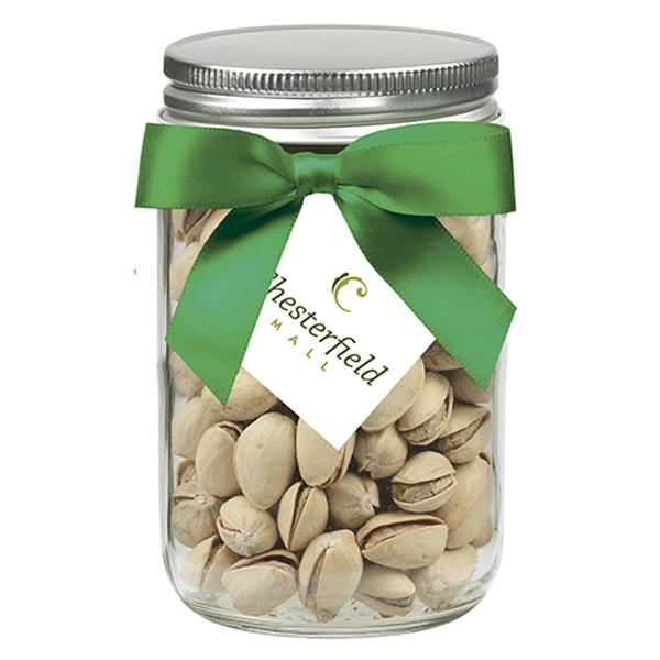 12 oz Glass Mason Jar With Pistachios