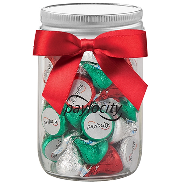 Mason Jar with Custom Hershey's® Holiday KISSES®