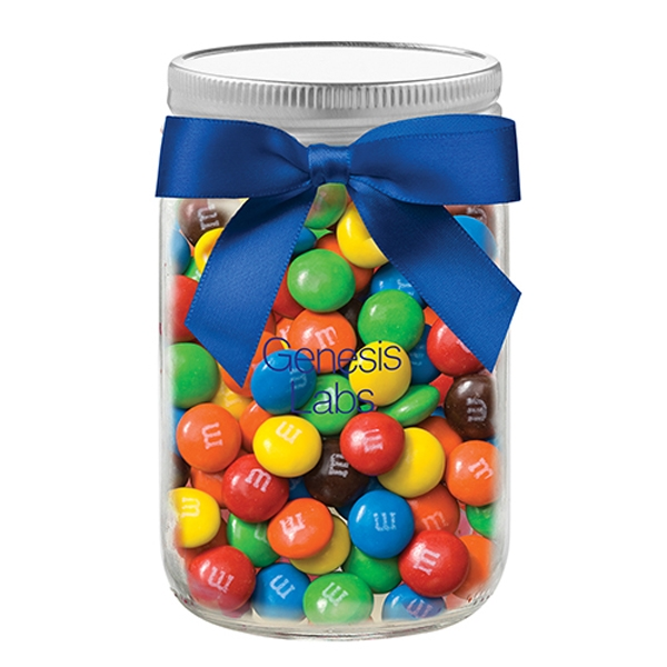 12 oz Mason Jar w/ Grosgrain Ribbon - M&M's®