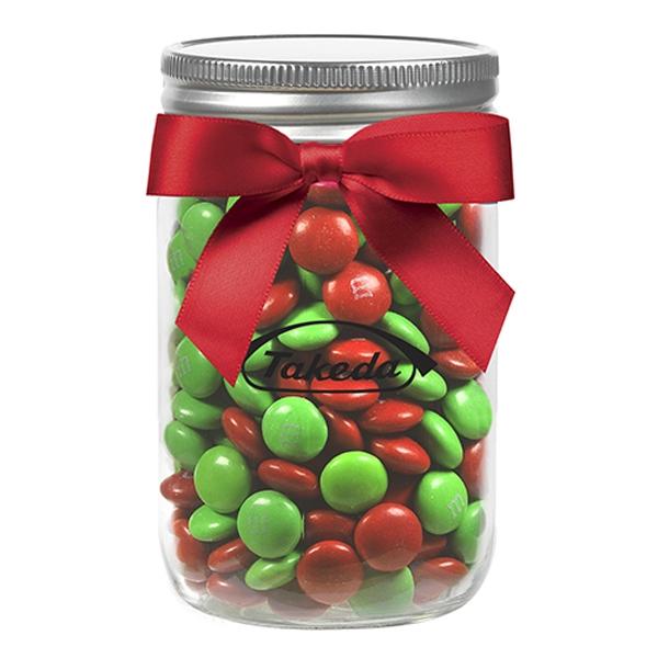 12 oz Mason Jar w/ Grosgrain Ribbon - Holiday M&M's®