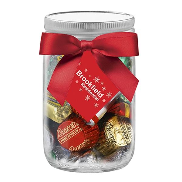 12 oz Mason Jar w/ Grosgrain Ribbon - Hershey's® Holiday Mix