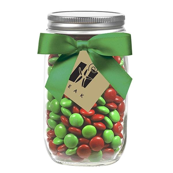 16 oz Mason Jars w/ Grosgrain Ribbon - Holiday M&M's®