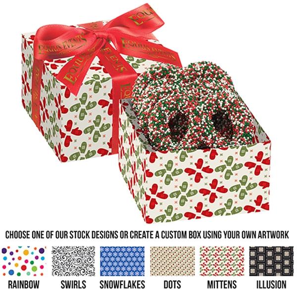 Chocolate Pretzel Gift Box - Holiday Nonpareil Sprinkles