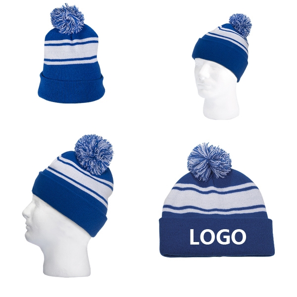 Knitted Beanie With Stripe Cap