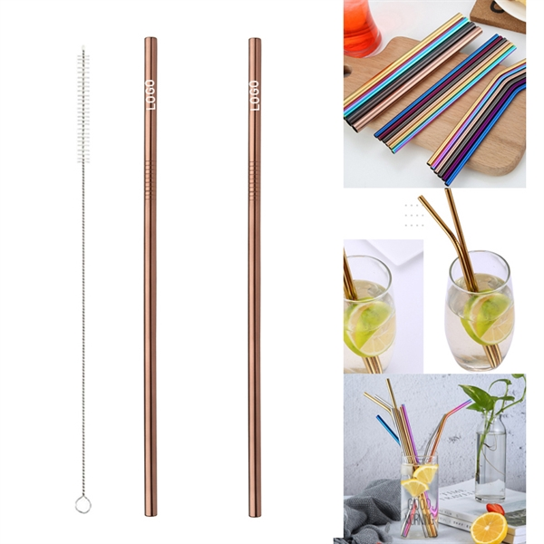 265mm Reusable Stainless Steel Straw With Brush