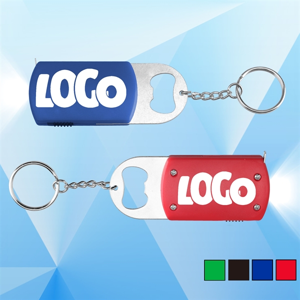 LED Tape Measure with Bottle Opener and Keychain