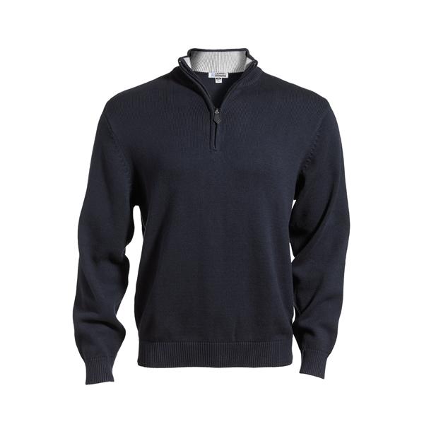 Quarter Zip Cotton Blend Sweater