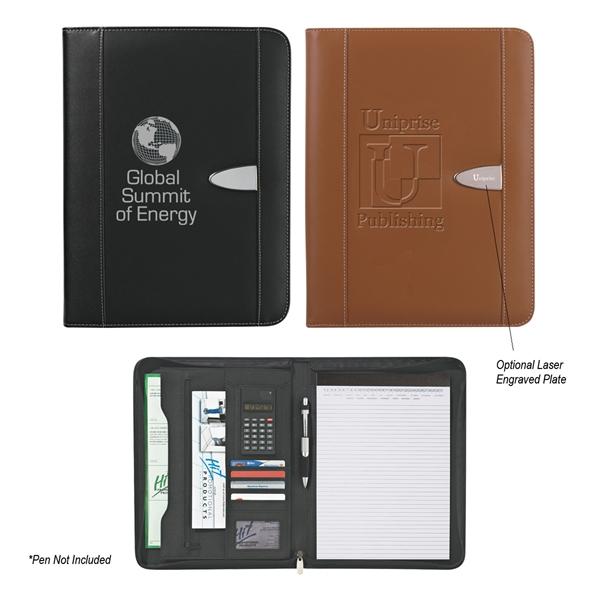 "Bonded Leather 8 1/2"" x 11"" Zipper Portfolio With Calculator"